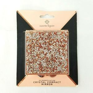 Nanette Lepore Crystal Compact Mirror Rose Gold